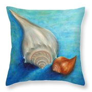 Shells In Blue Throw Pillow