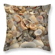 Shells On Beach Throw Pillow