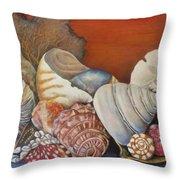 Shells On Shelf Throw Pillow