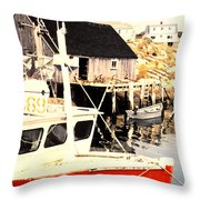 Sheltered Port Throw Pillow