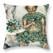Shennong, Chinese God Of Medicine Throw Pillow