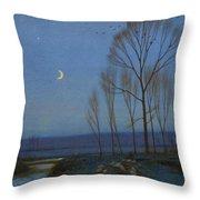 Shepherd And Sheep At Moonlight Throw Pillow by OB Morgan