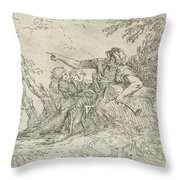 Shepherd Holding A Flute And Two Other Figures In A Landscape Throw Pillow