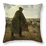 Shepherd Tending His Flock Throw Pillow