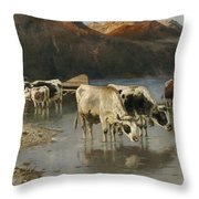 Shepherd With Cows On The Lake Shore Throw Pillow