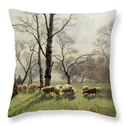 Shepherd With His Flock In The Evening Light Throw Pillow
