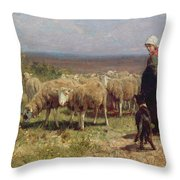 Shepherdess Throw Pillow by Anton Mauve