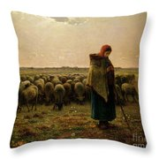 Shepherdess With Her Flock Throw Pillow by Jean Francois Millet