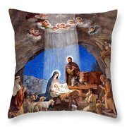Shepherds Field Nativity Painting Throw Pillow by Munir Alawi