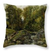 Shepherds Next To A Brook By Thomas Creswick Throw Pillow