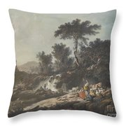 Shepherds Resting By A Stream Throw Pillow
