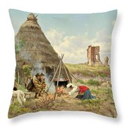 Shepherds Resting In The Roman Campagna Throw Pillow