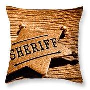 Sheriff Badge - Sepia Throw Pillow