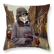 Shetland Sheepdog Art Canvas Print - Charleston Blue Throw Pillow