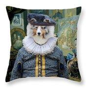 Shetland Sheepdog Art Canvas Print - The Painter And His Studio Throw Pillow