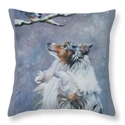 Shetland Sheepdog With Chickadee Throw Pillow