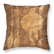 Shield Figure With Weapons Petroglyph Throw Pillow