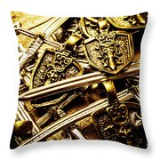Shields And Swords Weapons Throw Pillow