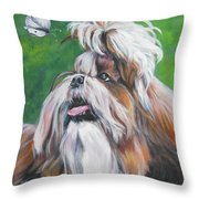 Shih Tzu And Butterfly Throw Pillow