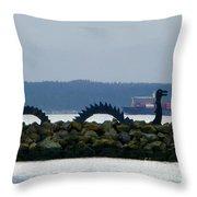 Shilshole Sea Serpent Throw Pillow