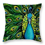 Shimmering Feathers Of A Peacock Throw Pillow