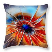 Shining Red Flower Throw Pillow
