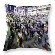 Shinjuku People Rush Throw Pillow