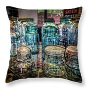 Shiny Glass Jars Throw Pillow