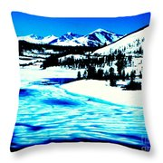 Shiny Snow Magic On Lake Throw Pillow