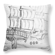 Ship At Sea Throw Pillow