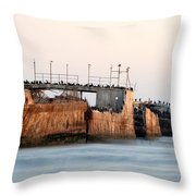 Ship At Seecliff Throw Pillow