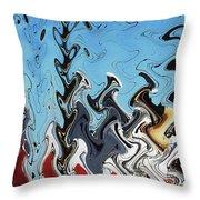 Ship At The Mooring Abstract Throw Pillow