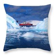 Ship In Between Icebergs Throw Pillow