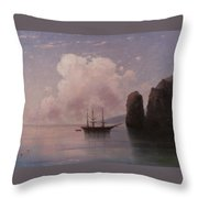 Ship In Calm Water At Dusk Throw Pillow