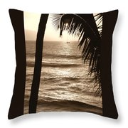 Ship In Sunset Throw Pillow