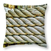 Ship Rope Anchored Throw Pillow