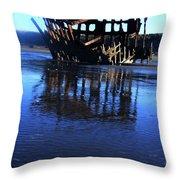 Ship Wreck At Fort Stevens Park Oregon Throw Pillow