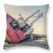 Shipwreck Provincetown Breakwater Throw Pillow