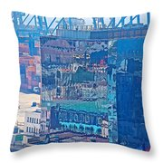 Shipping Containers And Building Windows Reflecting Graffiti  Art Of Valparaiso-chile Throw Pillow