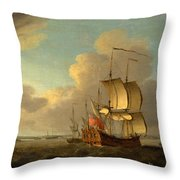 Shipping In The Thames Estuary Throw Pillow