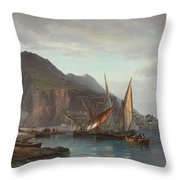 Shipping Off Gibraltar, 1880 Throw Pillow