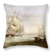 Shipping Off Hartlepool Throw Pillow by John Wilson Carmichael