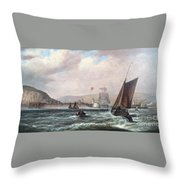 Shipping Off Newhaven Harbour Throw Pillow