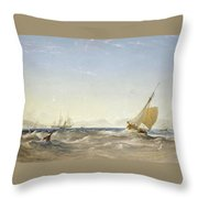 Shipping Off The Coast Throw Pillow