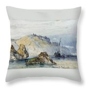 Shipping Off The Coast Of Granville Throw Pillow