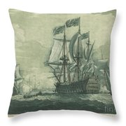 Shipping Scene With Man-of-war Throw Pillow