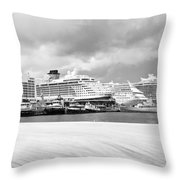 Ships All In A Row Throw Pillow
