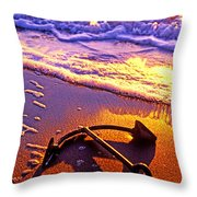 Ships Anchor On Beach Throw Pillow