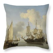 Ships At Anchor On The Coast  Willem Van De Velde II C 1660 Throw Pillow