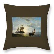 Ships At Dusk Throw Pillow
